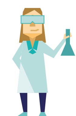 illustration of someone working on research